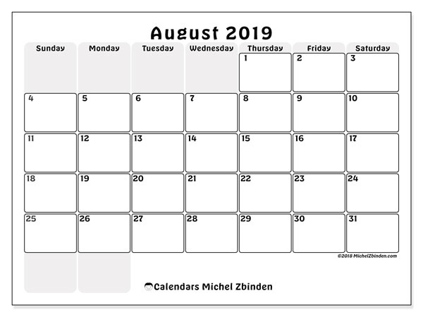photograph relating to Free Printable Calendar August known as August 2019 Calendar (44SS) - Michel Zbinden EN