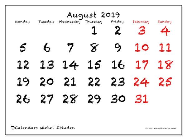 August 2019 Calendar, 46MS. Free printable bullet journal.