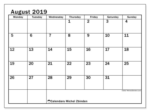 August 2019 Calendar, 50MS. Planner to print free.