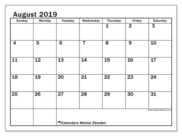 August 2019 Calendar, 50SS. Monthly calendar to print free.