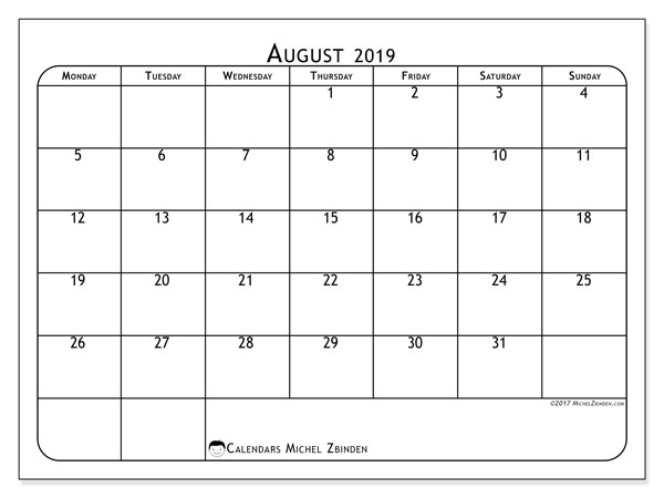 August 2019 Calendar, 51MS. Planner to print free.