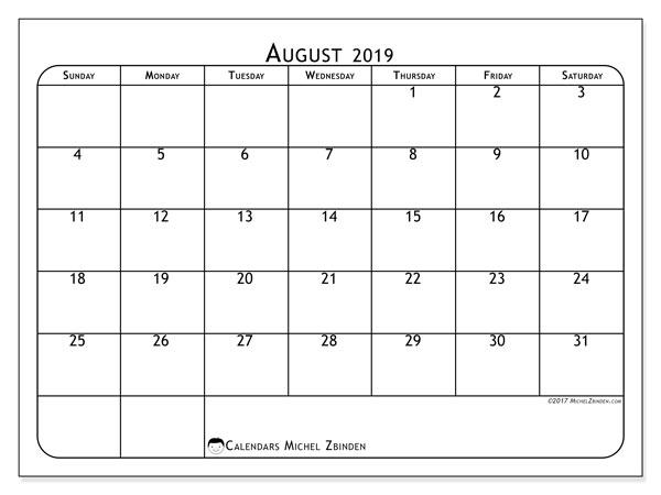 Calendar  August 2019, 51SS