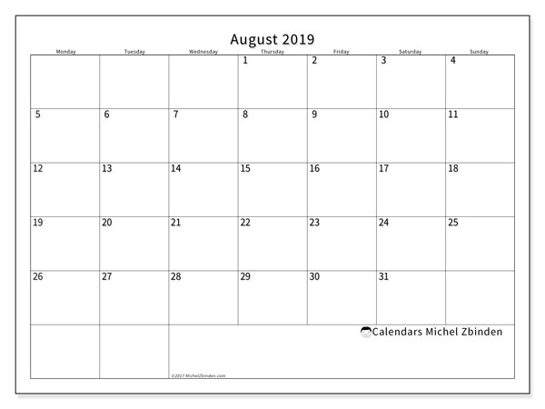 August 2019 Calendar, 53MS. Monthly calendar to print free.