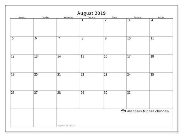 August 2019 Calendar, 53MS. Free printable planner.