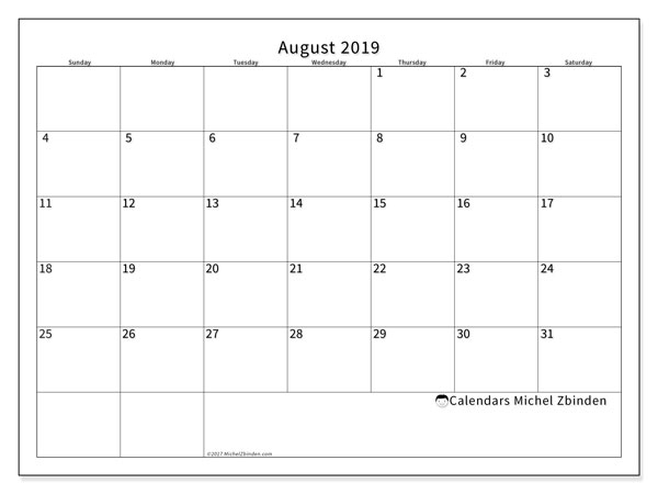 August 2019 Calendar, 53SS. Free printable monthly planner.