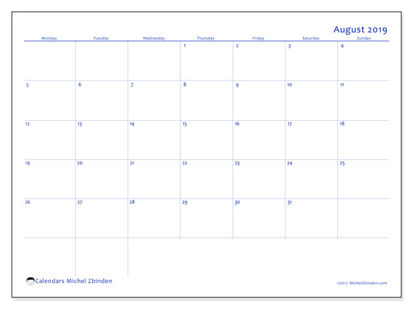 August 2019 Calendar, 55MS. Free printable monthly planner.