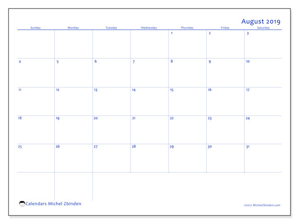 August 2019 Calendar, 55SS. Monthly planner to print free.