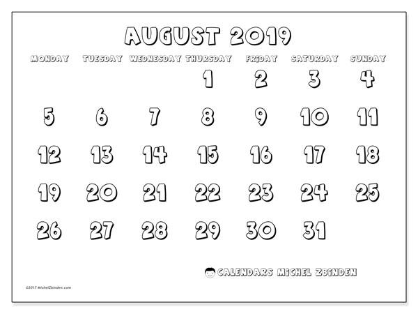 Calendar  August 2019, 56MS