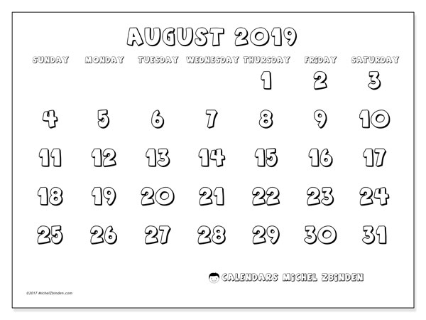 August 2019 Calendar, 56SS. Planner to print free.