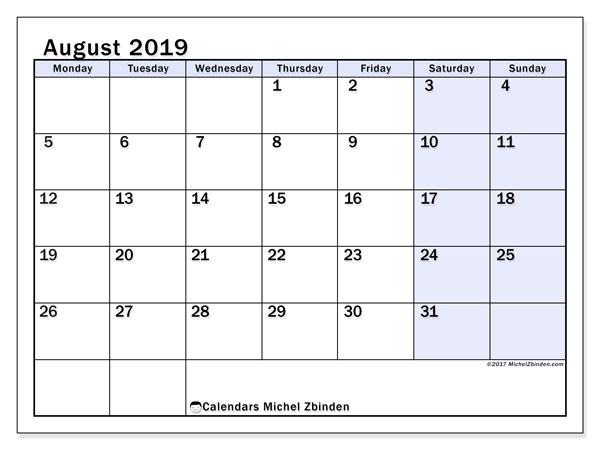 August 2019 Calendar, 57MS. Free printable calendar.