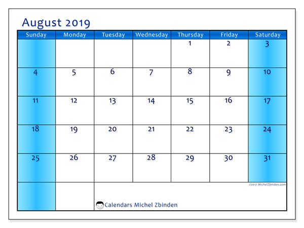 August 2019 Calendar, 58SS. Free printable monthly planner.