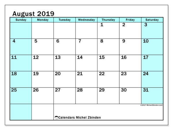 August 2019 Calendar, 59SS. Free printable monthly planner.