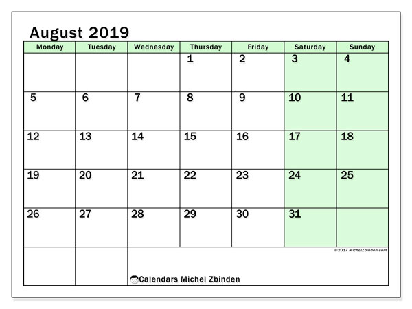 August 2019 Calendar, 60MS. Free planner to print.