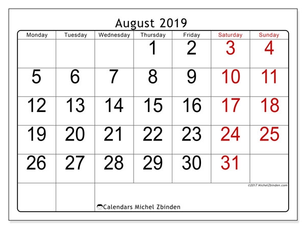 August 2019 Calendar, 62MS. Free planner to print.