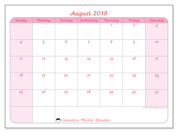 August 2019 Calendar, 63SS. Calendar for the month to print free.