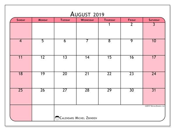 August 2019 Calendar, 64SS. Calendar to print free.