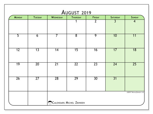 August 2019 Calendar, 65MS. Free planner to print.