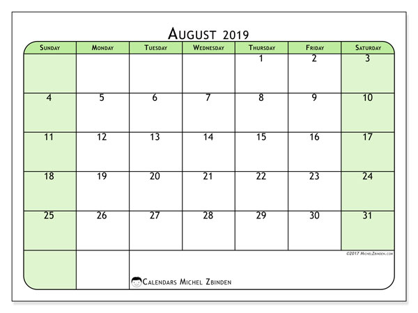 August 2019 Calendar, 65SS. Free printable planner.