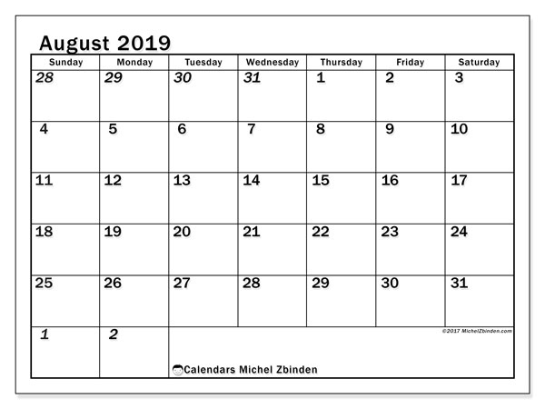 August 2019 Calendar, 66SS. Free printable monthly calendar.