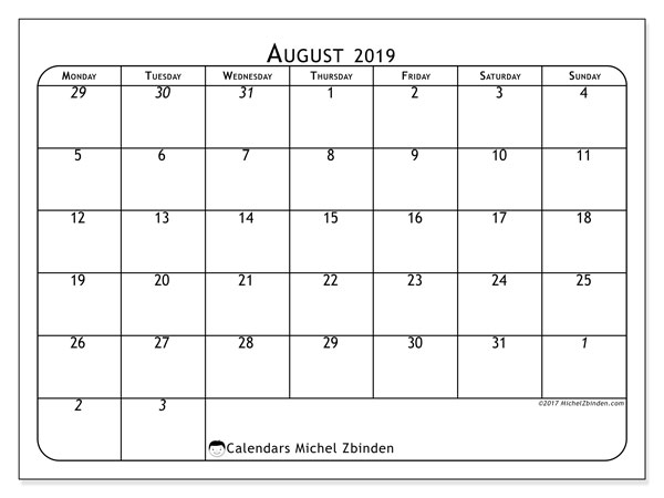 August 2019 Calendar, 67MS. Bullet journal to print free.