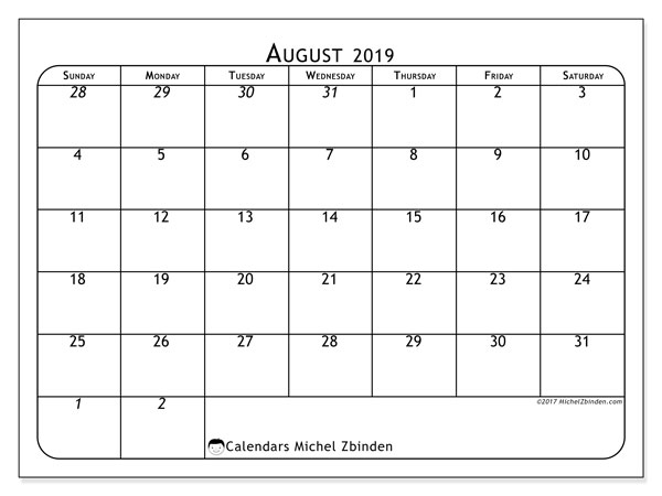 August 2019 Calendar, 67SS. Free printable monthly planner.