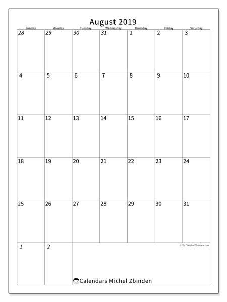 Calendar  August 2019, 68SS