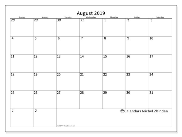 August 2019 Calendar, 70SS. Free printable calendar.