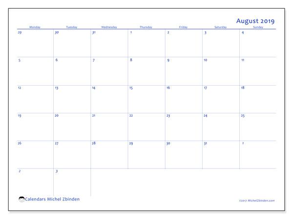 August 2019 Calendar, 73MS. Free bullet journal to print.