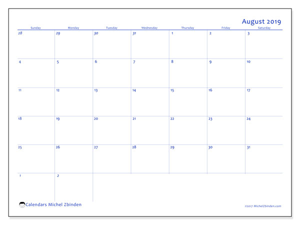 August 2019 Calendar, 73SS. Free planner to print.