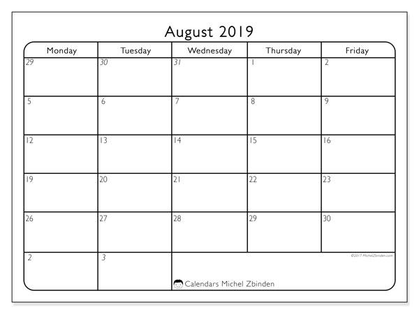 August 2019 Calendar, 74MF. Free printable planner.