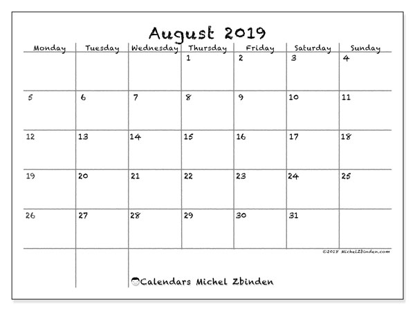 August 2019 Calendar, 77MS. Calendar for the month to print free.