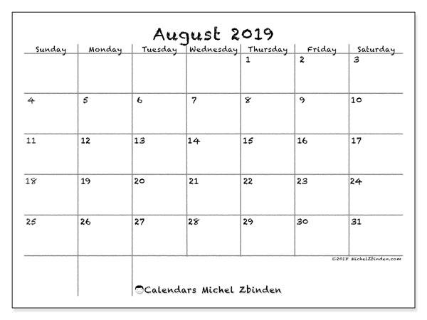 August 2019 Calendar, 77SS. Free bullet journal to print.
