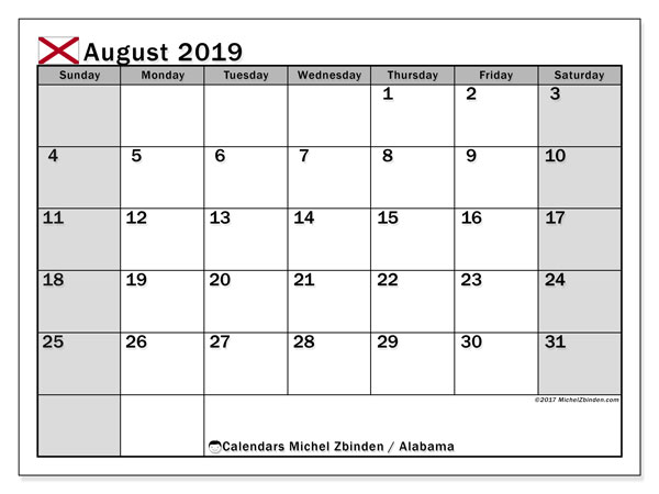 August 2019 Calendar, with the holidays of Alabama. Free printable calendar with public holidays.