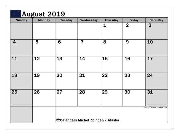 August 2019 Calendar, with the holidays of Alaska. Free printable calendar with public holidays.