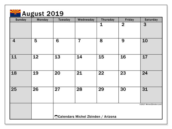 August 2019 Calendar, with the holidays of Arizona. Free printable calendar with public holidays.