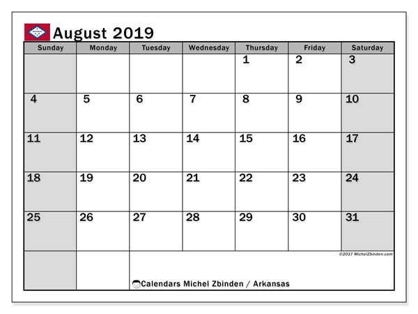 August 2019 Calendar, with the holidays of Arkansas. Holidays calendar to print free.