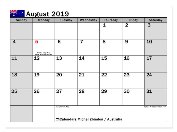 Calendar August 2019, with the holidays of Australia. Free bullet journal to print.