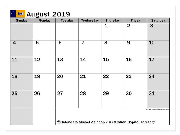 August 2019 Calendar, with the holidays of Australian Capital Territory. Holidays calendar to print free.