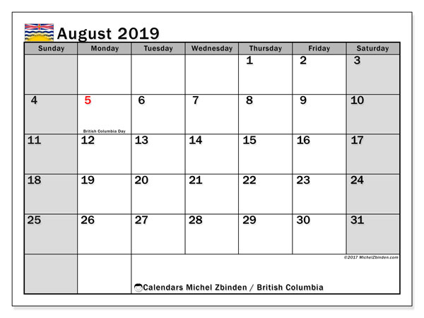 Calendar August 2019, with the holidays of British Columbia. Planner to print free.