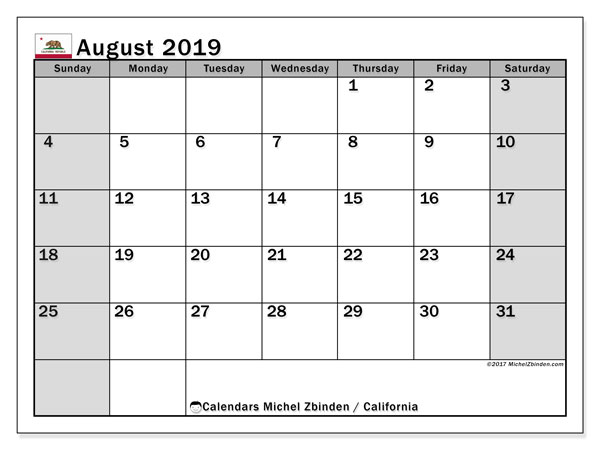 August 2019 Calendar, with the holidays of California. Holidays calendar to print free.