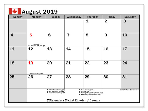 August 2019 Calendar, with the holidays of Canada. Free printable calendar with public holidays.