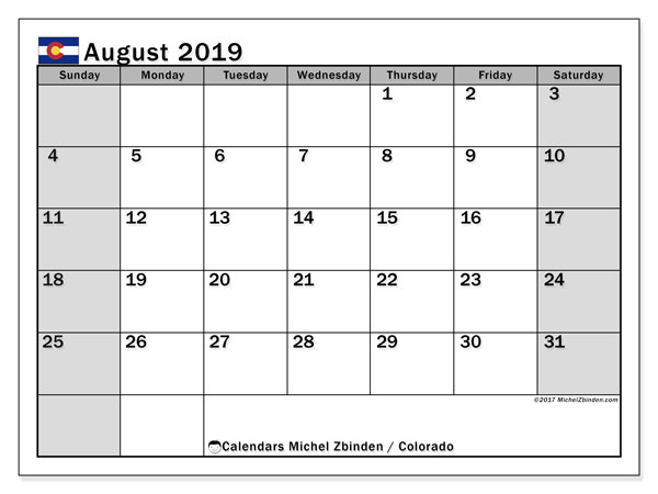 August 2019 Calendar, with the holidays of Colorado. Free printable calendar with public holidays.