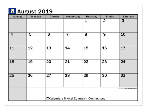 August 2019 Calendar, with the holidays of Connecticut. Free printable calendar with public holidays.