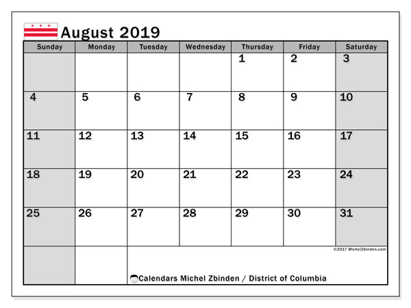 August 2019 Calendar, with the District of Columbia holidays. Free printable calendar with public holidays.