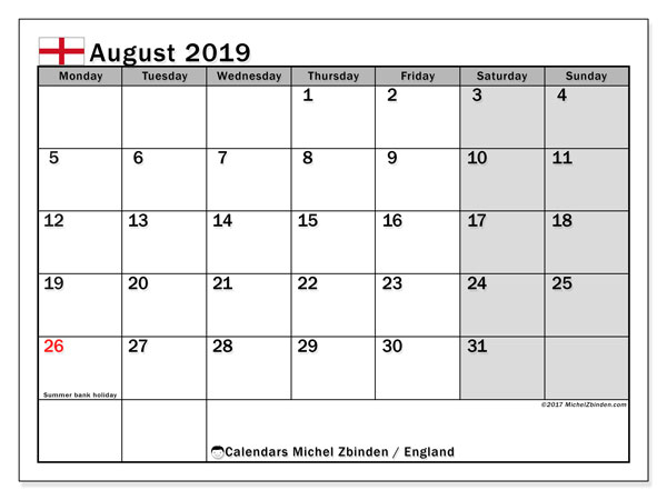 August 2019 Calendar, with the holidays of England. Holidays calendar to print free.