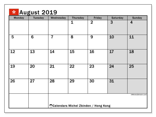August 2019 Calendar, with the holidays of Hong Kong. Free printable calendar with public holidays.