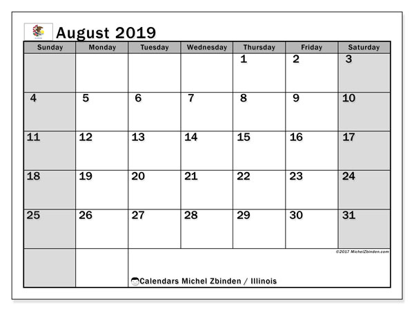 August 2019 Calendar, with the holidays of Illinois. Free printable calendar with public holidays.