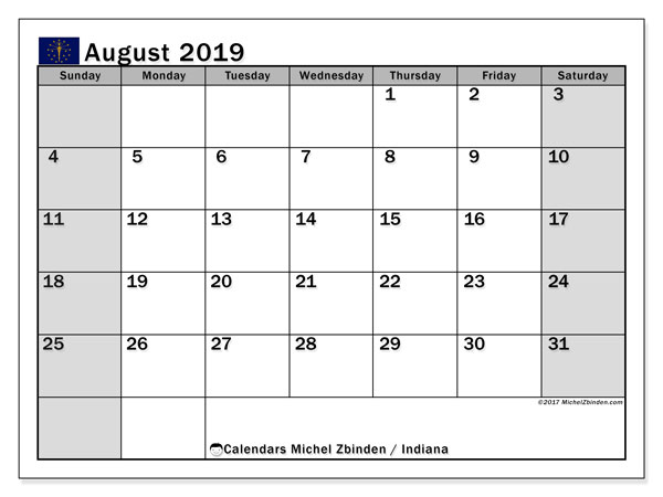 August 2019 Calendar, with the holidays of Indiana. Free printable calendar with public holidays.