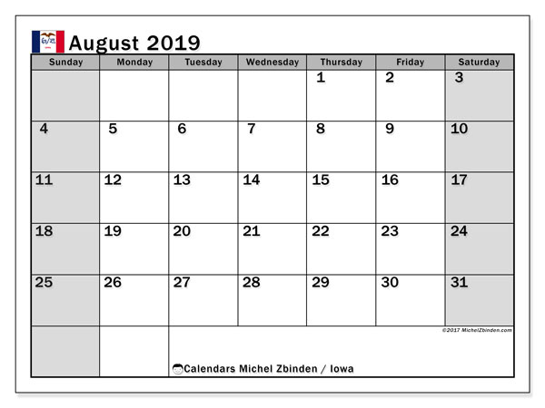 August 2019 Calendar, with the holidays of Iowa. Holidays calendar to print free.