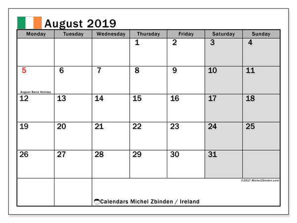 Calendar August 2019, with the holidays of Ireland. Calendar for the month to print free.